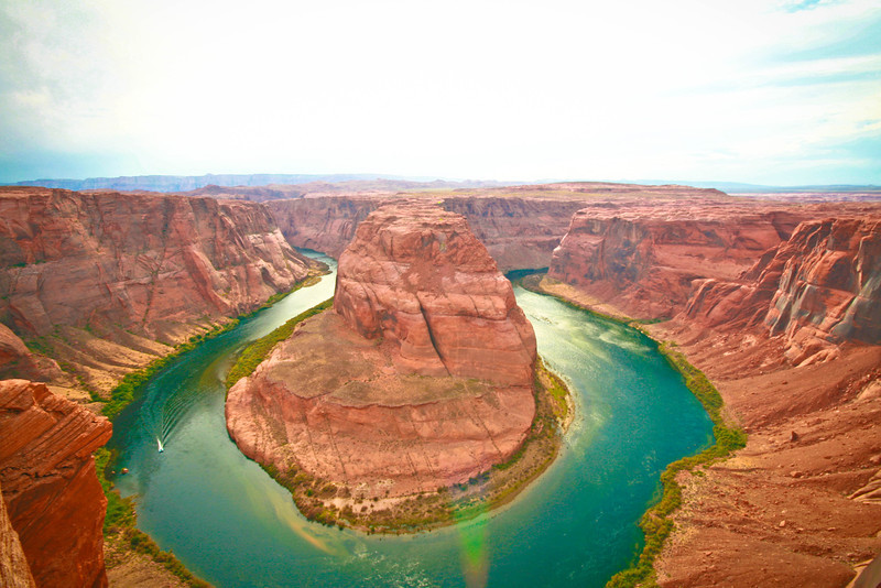 Horsheshoe Bend near Page, AZ.  The Colorado River makes a magnificent turn at this point just five miles downstream from Glen Canyon Dam.