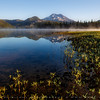 Sparks Lake with morning mist, Central Oregon, USA