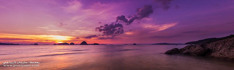 Panoramic sunset at Krabi, Thailand.