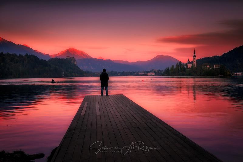 Golden hour at lake Bled
