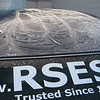 Ice formed on the roof of my car on a cold morning in the desert... Tucson Arizona. This is the rear window.