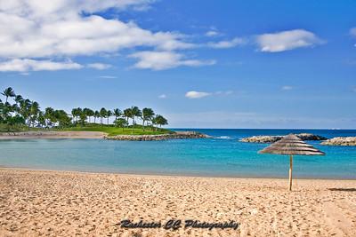 Ocean lagoon at the beach at Ko' Olina Resort in Oahu, Hawaii.
