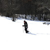 A cold fellow trying out his snowshoes. Lake Francis