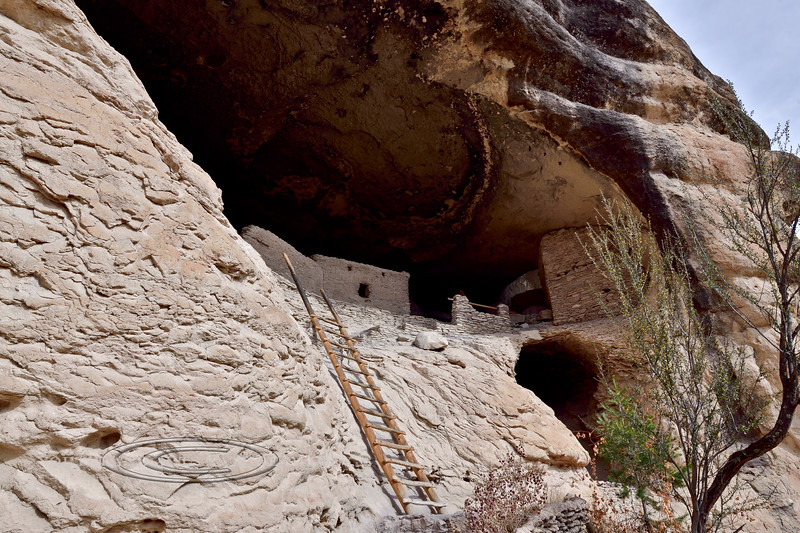 NM-GCD17-2019.11.9#4032. Gila Cliff Dwellings. The alcove/cave area at the exit from the Cliff Dwellings. Gila Wilderness, New Mexico.