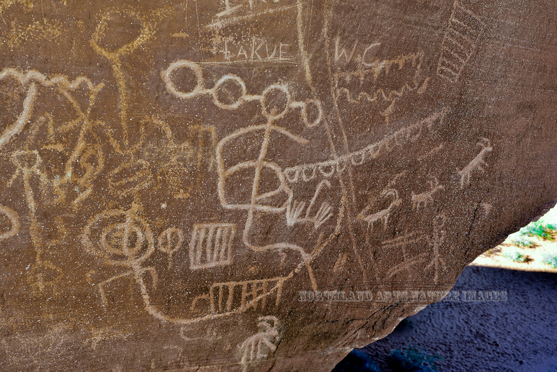 Petroglyphs. 2018.12.13#080. Atlatl Rock, Nevada. Unfortunately exhibiting Graffiti found on far too many western petroglyphs. See more in the Gallery of Rock Art and Ancient Ruins.