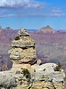 Grand Canyon view 2018.2.28#117. One of many interesting formations along the south rim of Grand Canyon with Isis Temple in background. Arizona.