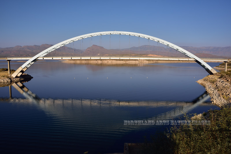 AZ-RLKB2017.12.14#060. Roosevelt Bridge. The longest single span steel arch bridge in North America. 1080 feet long. At the outlet of Roosevelt Lake and continuance of the Salt River. Gila and Maricopa Counties, Arizona.