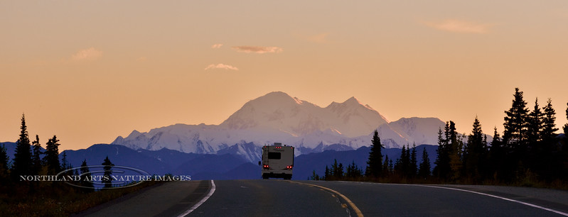 Denali the Great One. A Panorama view from the north side while driving south on the Parks highway, Alaska. #829.605.