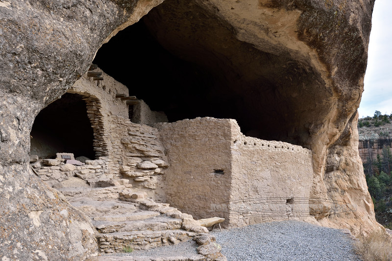 NM-GCD5-2019.11.9#3981. Gila Cliff Dwellings. The entrance to the inside of the alcove/cave rooms. Gila Wilderness, New Mexico.