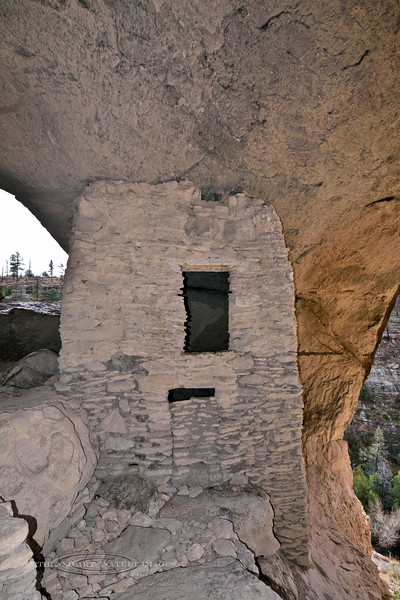 NM-GCD12-2019.11.9#4013. Gila Cliff Dwellings. A two story room inside the cliff  dwellings. Gila Wilderness, New Mexico.