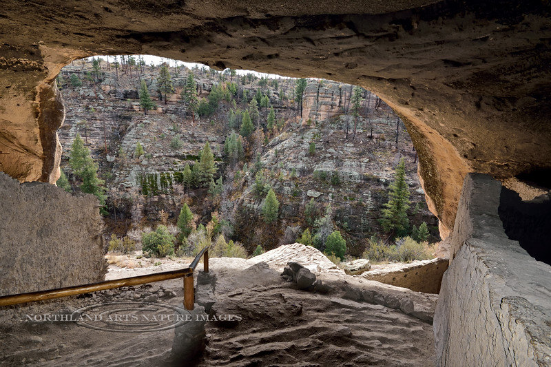NM-GCD8-2019.11.9#4000. Gila Cliff Dwellings. A view out to Cliff Dwellers Canyon as you make your way through the ruins. Gila Wilderness, New Mexico.