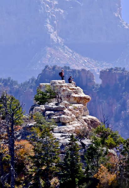 2019.10.15#607. A view hiking down Bright Angel Point Trail from the North Rim, Grand Canyon Park Arizona.