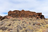An Anasazi pueblo ruin called the Citadel 2018.6.6#606. Built entirely on an existing basalt outcrop. Wupatki Nat. Monument Arizona.