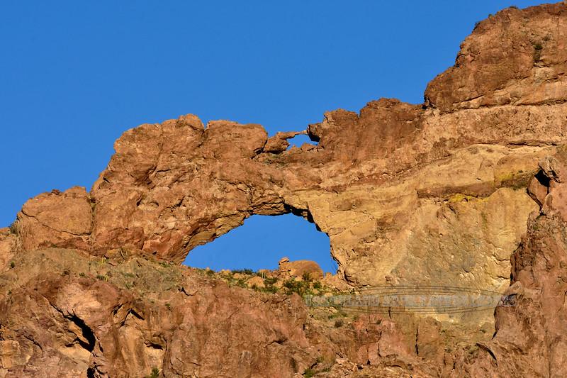 """The Ajo Mountain """"Double Arches"""". 2019.3.5#053. Ajo Mountain loop road, Organ Pipe Cactus Nat. Mon. Arizona."""