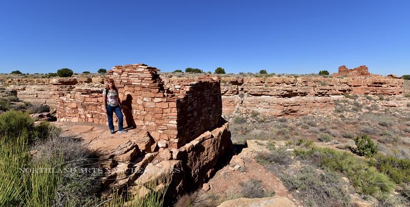 Box Canyon ruins 2018.10.26#384. Mary lou at Wupatki Nat Monument Arizona.