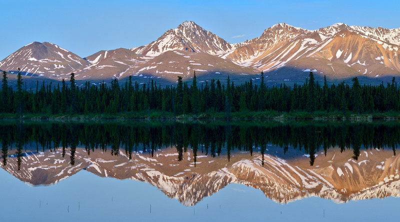 2014.6.23#124. Denali country reflections. Central Alaska Range, Alaska.