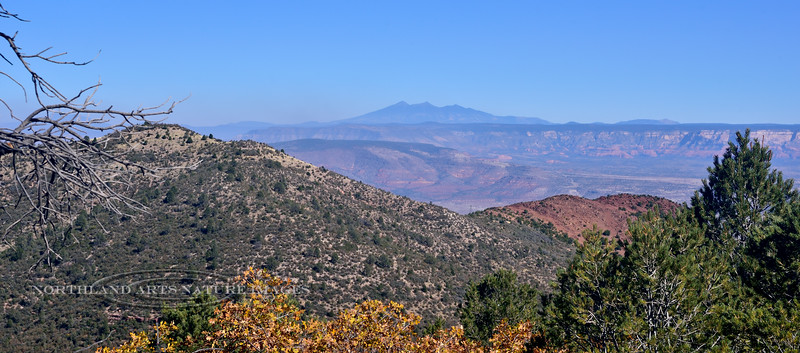 The San Francisco Peaks. 2019.10.25#085.3. View from Mingus mountain looking over the Red Rock Country west of Sedona Arizona.