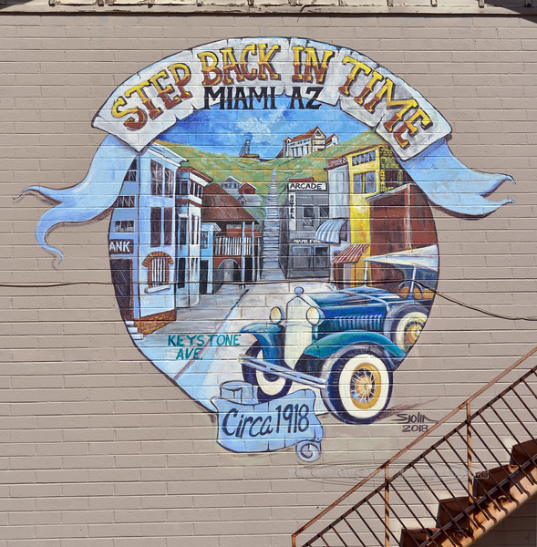 AZ-Mural 2019.4.1#051. An advertisement for Keystone Avenue in Miami Arizona that is pretty much as it was built near the turn of the century. Gila County Arizona.