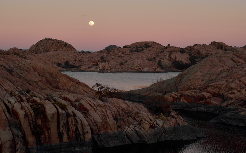 "2020.2.8#4339.3. A Super moon rising over the ""Dells"" of Willow Lake a few minutes after the sun has set. Near Prescott Arizona ."