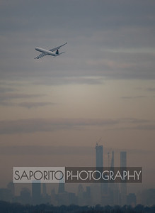 Airplane and Manhattan Skyline