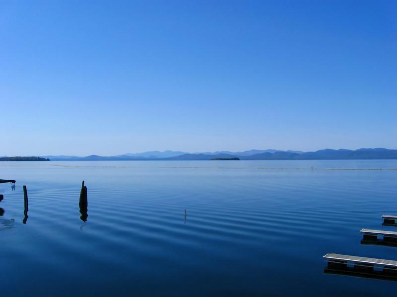 Lake Champlain , Adirondack Mountains on NY side