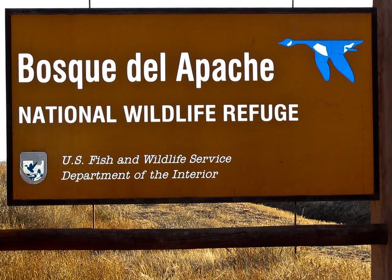Sign Bosque del Apache NWR<br /> Bosque del Apache NWR, New Mexico