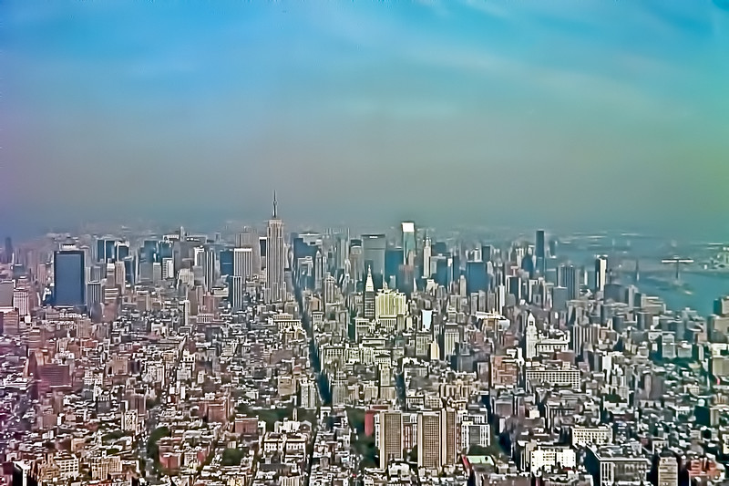 Empire State Building and Manhattan as seen from the roof of the World Trade Center Sept 8, 2001