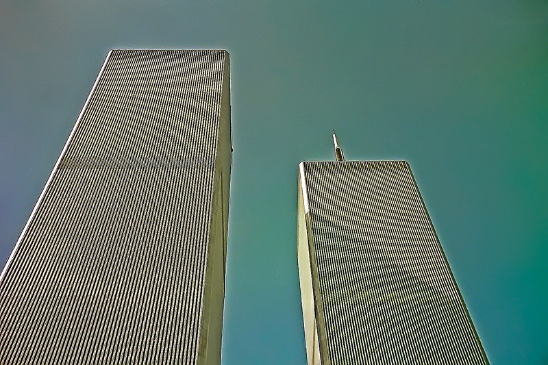 Looking up at the amazing World Trade Center 3 days before 911
