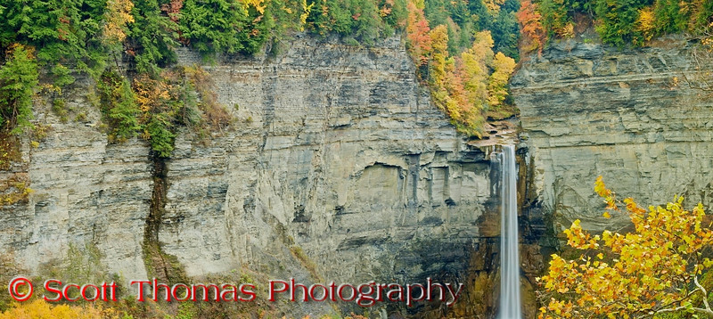 Taughannock Falls State Park, Ithaca, New York. Panoramic view of the falls from the overlook.