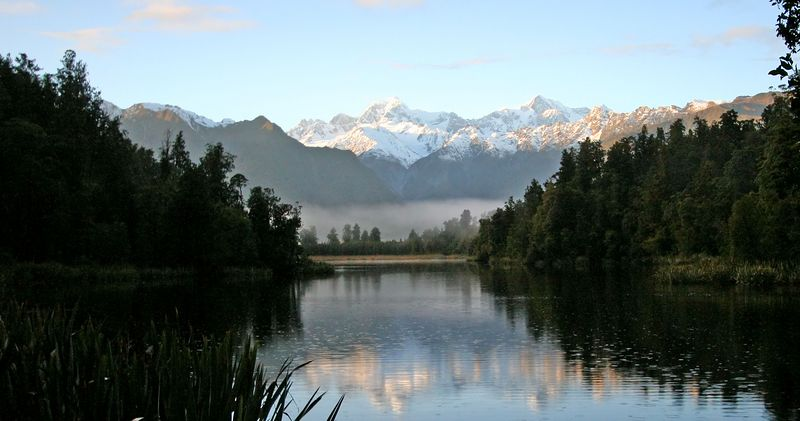 Lake Matheson, the most photographed lake in New Zealand.