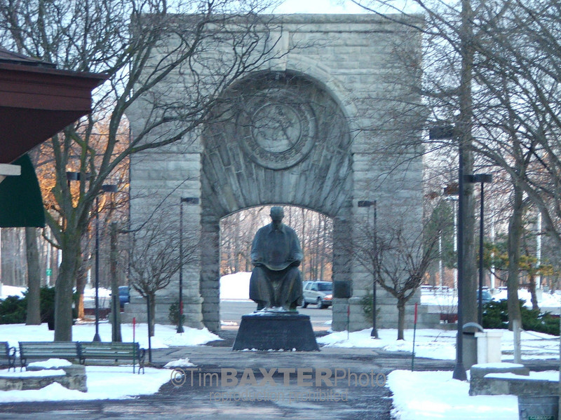 Statue of Nikola Tesla near the original doorway to the first Power Plant in Niagara Falls, NY