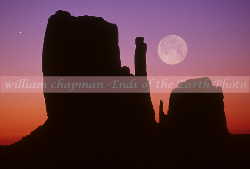 Full lunar eclipse over Mittens- Monument Valley