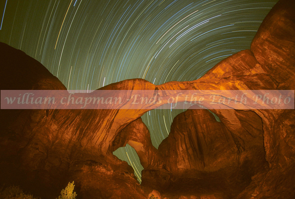 Startrails over Double Arch