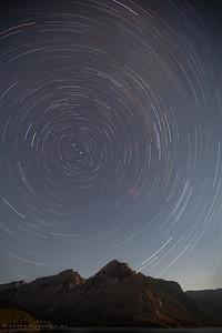Star trails at Minnewanka