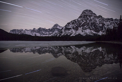 Star trails over the waterfowl lakes.