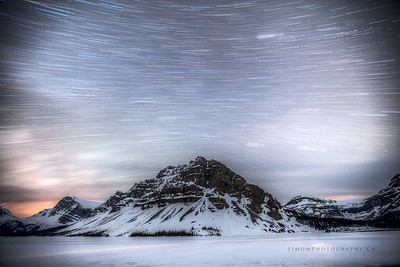 Bow Lake at night