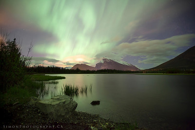 The northern lights over Rundle