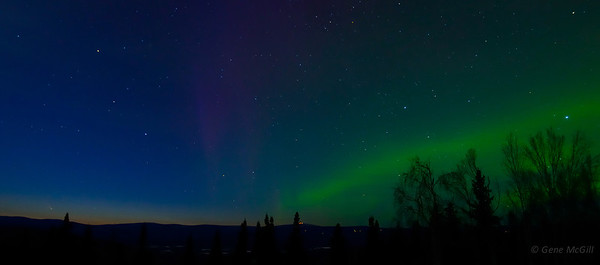 Comet Pan-STARRS & Aurora near Fairbanks, AK.  The comet is near the horizon on the left.