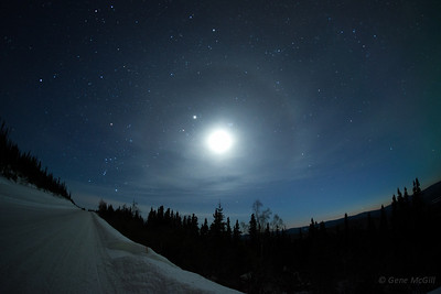 Orion, Juptier, Moon, Pleiades, Comet Pan-STARRS (near the horizon on the right).  Taken from the Old Nenana Highway, near Fairbanks, Alaska, on March 16, 2013.