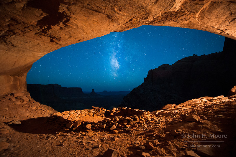 False Kiva under the Milky Way, just as the sky blues up before dawn