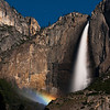 "The mist below Upper Yosemite Falls, in Yosemite National Park, lights up in a ""moonbow"" from the light of the full moon"