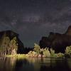 The Milky Way rises over Bridalveil Falls, El Capitan, and the Merced River in Yosemite Valley.  Yosemite National Park, California, USA.