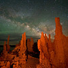 Milky Way over tufa towers at night