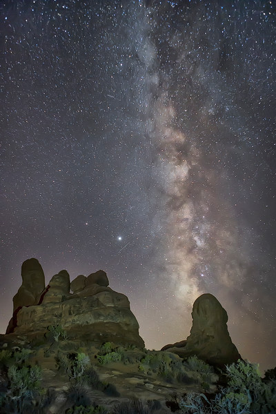 """Arches National Park """"The Windows"""" With Milky Way In The Background"""