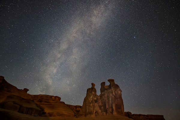 """Arches National Park """"Three Gossips"""" With Milky Way In The Background"""