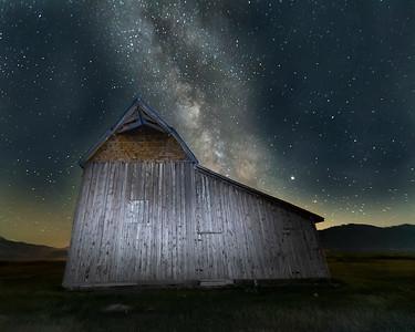 Mormon Barn at Grand Teton National Park with Milky Way