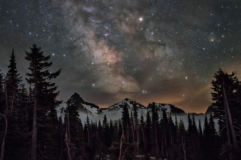 Mount Ranier Lake National Park Milky Way