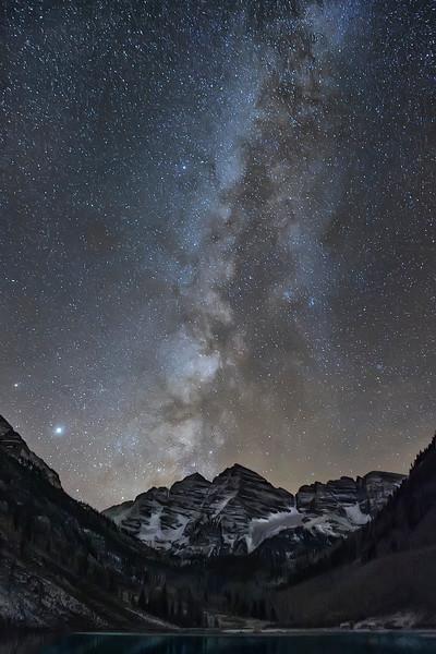 Maroon Bells With Milky Way Background