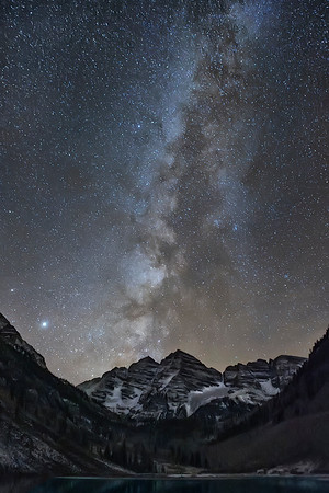 Maroon Bells With Milky Way Background