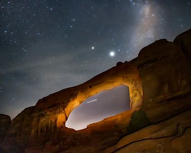 Arches National Park Skyline Arch With Milky Way In The Background